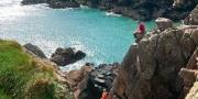 "Rock climbing ""Dream Boat Annie"" Grey Wall climb Porth Clais Near St David's Pembrokeshire South Activities and Sports"